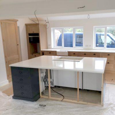 unistone bianco assoluto kitchen island/worktops